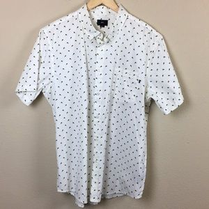 Obey- White Button Down Floral Shirt- Size XXL